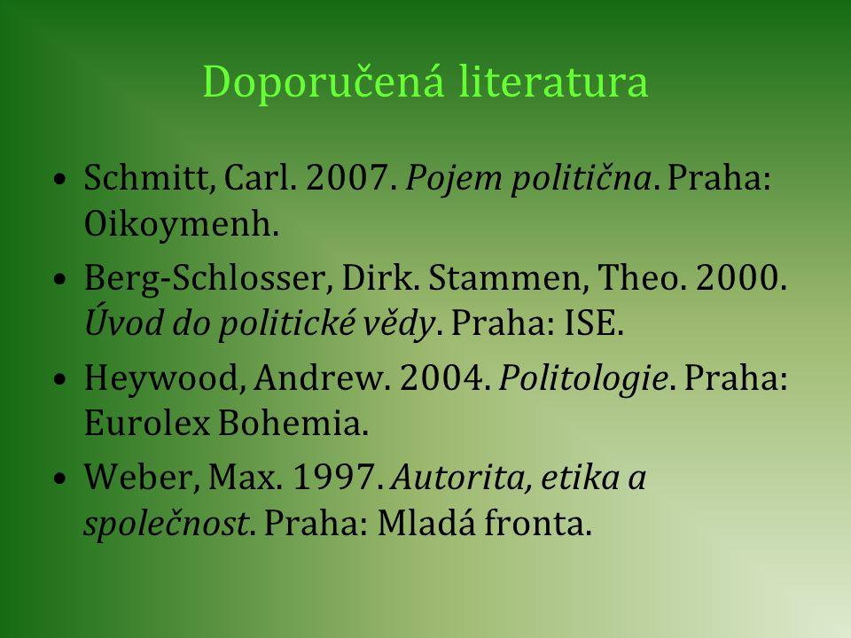 Doporučená literatura Schmitt, Carl. 2007. Pojem politična. Praha: Oikoymenh. Berg-Schlosser, Dirk. Stammen, Theo. 2000. Úvod do politické vědy. Praha