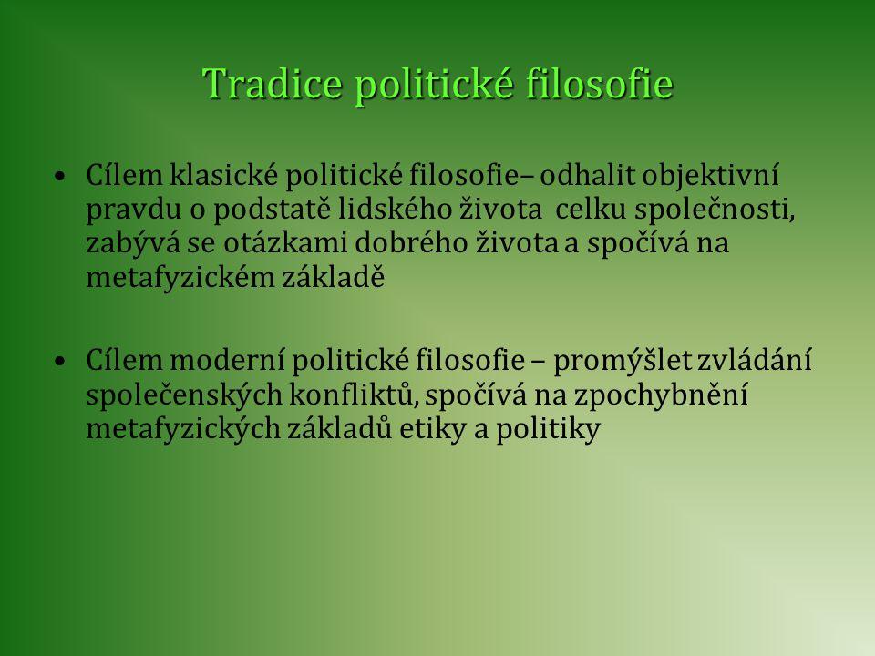 Tradice politické filosofie Cílem klasické politické filosofie– odhalit objektivní pravdu o podstatě lidského života celku společnosti, zabývá se otáz
