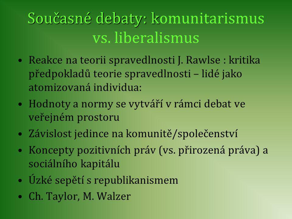Současné debaty: k Současné debaty: komunitarismus vs. liberalismus Reakce na teorii spravedlnosti J. Rawlse : kritika předpokladů teorie spravedlnost