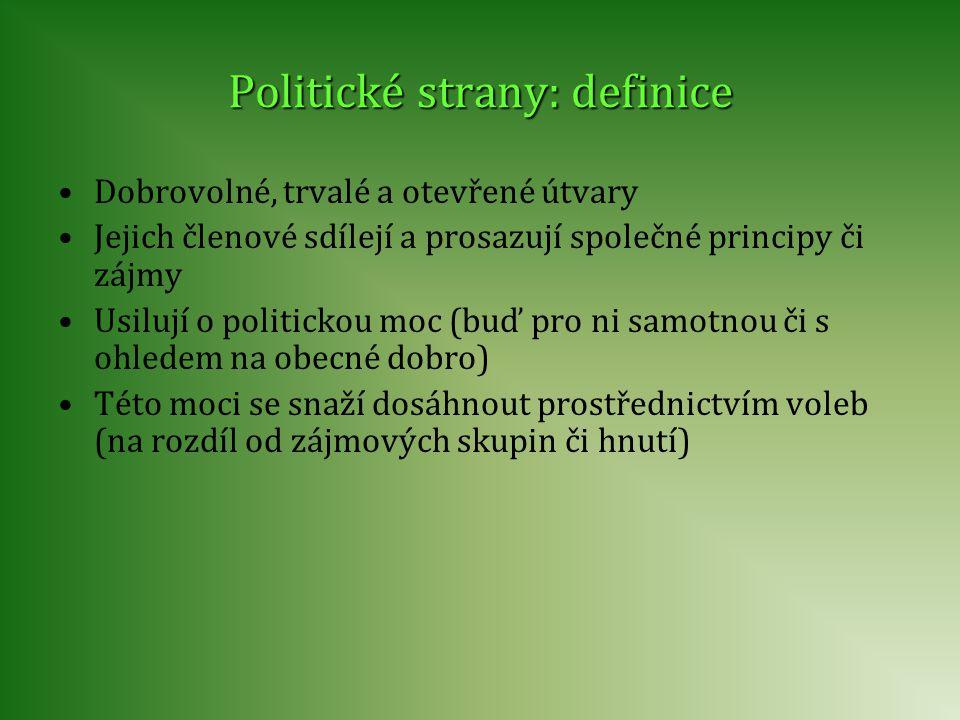 Politické strany: definice Dobrovolné, trvalé a otevřené útvary Jejich členové sdílejí a prosazují společné principy či zájmy Usilují o politickou moc