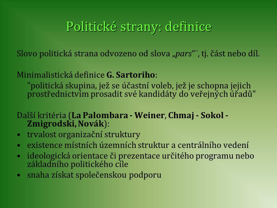"""Politické strany: definice Slovo politická strana odvozeno od slova """"pars""""¨, tj. část nebo díl. Minimalistická definice G. Sartoriho:"""