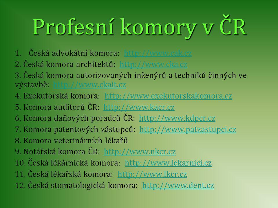 Profesní komory v ČR 1.Česká advokátní komora: http://www.cak.czhttp://www.cak.cz 2. Česká komora architektů: http://www.cka.czhttp://www.cka.cz 3. Če