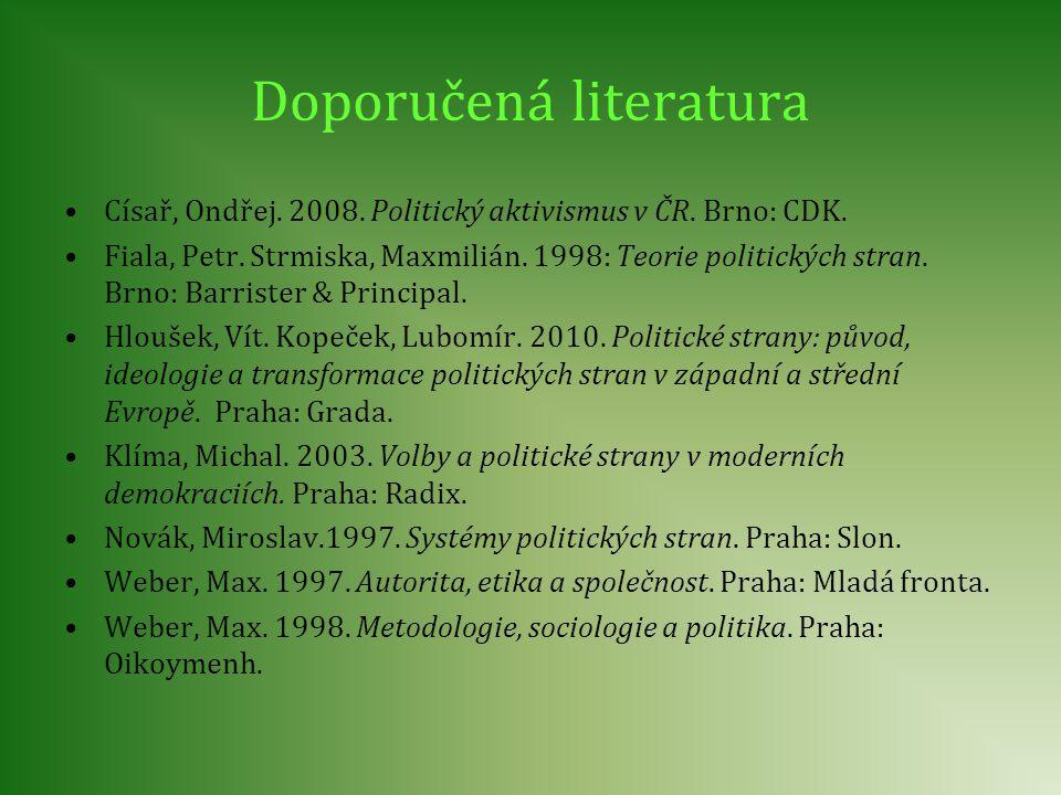Doporučená literatura Císař, Ondřej. 2008. Politický aktivismus v ČR. Brno: CDK. Fiala, Petr. Strmiska, Maxmilián. 1998: Teorie politických stran. Brn