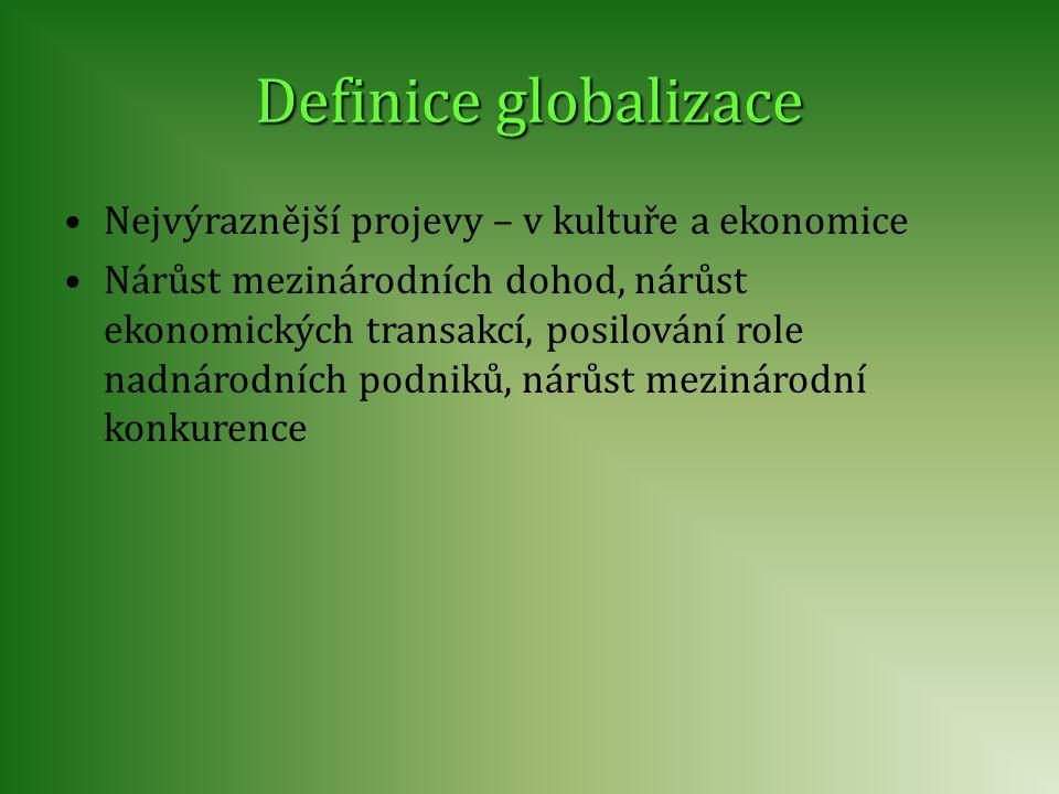 Nejvýraznější projevy – v kultuře a ekonomice Nárůst mezinárodních dohod, nárůst ekonomických transakcí, posilování role nadnárodních podniků, nárůst
