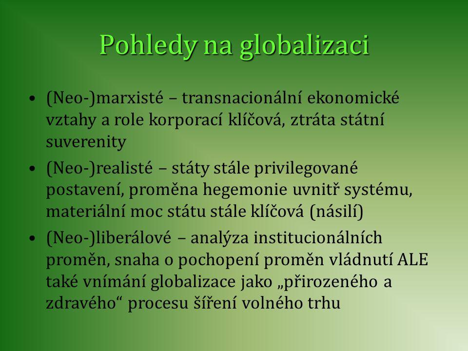 (Neo-)marxisté – transnacionální ekonomické vztahy a role korporací klíčová, ztráta státní suverenity (Neo-)realisté – státy stále privilegované posta