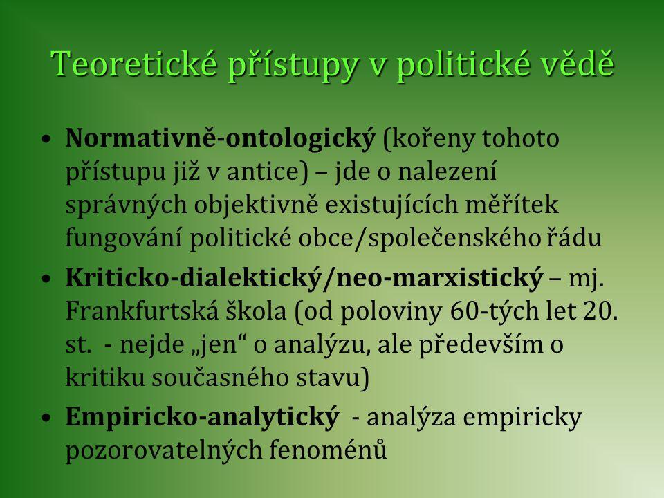 Teoretické přístupy v politické vědě Normativně-ontologický (kořeny tohoto přístupu již v antice) – jde o nalezení správných objektivně existujících m