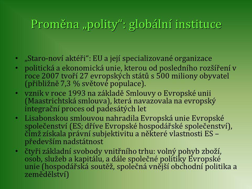 """Proměna """"polity"""": globální instituce """"Staro-noví aktéři"""": EU a její specializované organizace politická a ekonomická unie, kterou od posledního rozšíř"""