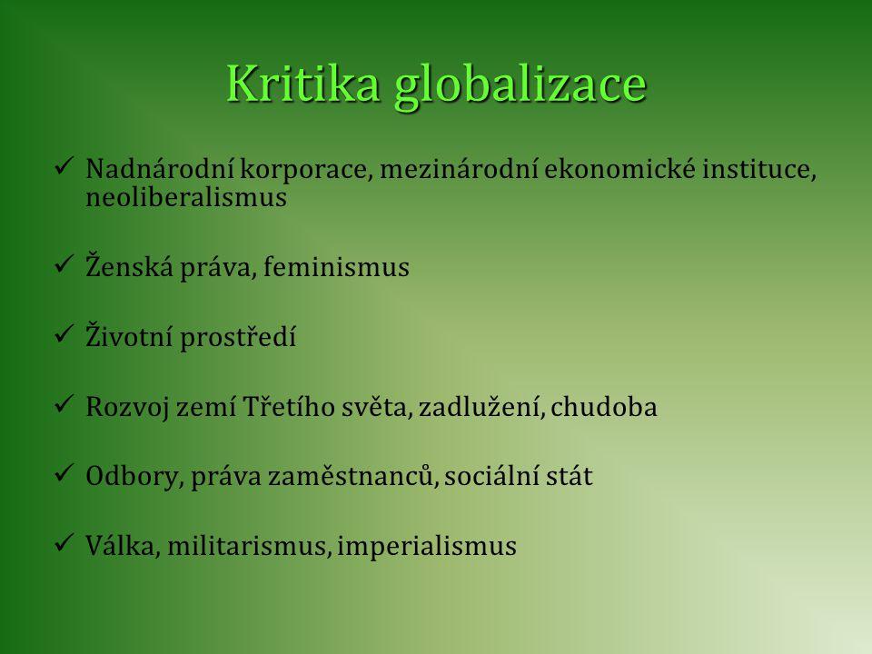 Kritika globalizace Nadnárodní korporace, mezinárodní ekonomické instituce, neoliberalismus Ženská práva, feminismus Životní prostředí Rozvoj zemí Tře