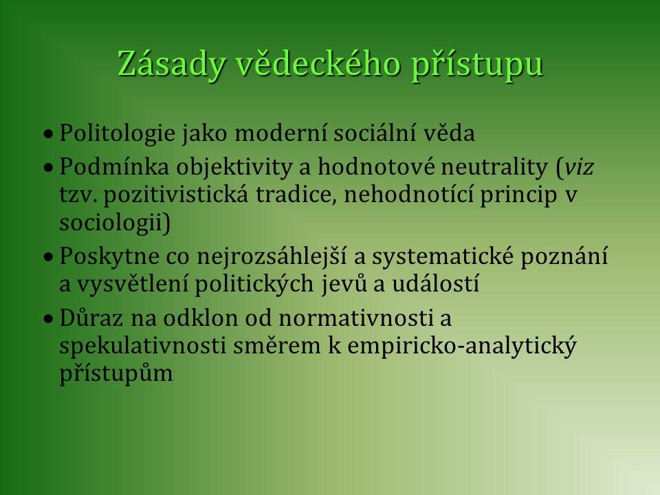 Zásady vědeckého přístupu  Politologie jako moderní sociální věda  Podmínka objektivity a hodnotové neutrality (viz tzv. pozitivistická tradice, neh