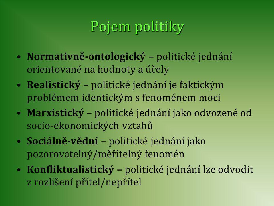 Pojem politiky Normativně-ontologický – politické jednání orientované na hodnoty a účely Realistický – politické jednání je faktickým problémem identi