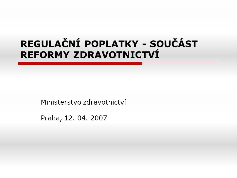 OBSAH DNEŠNÍ PREZENTACE Poplatky jako součást reformy zdravotnictví Situace v ČR a srovnání s Evropou Návrh regulačních poplatků od roku 2008 Ochrana pacientů a sociální klauzule Shrnutí a očekávané přínosy