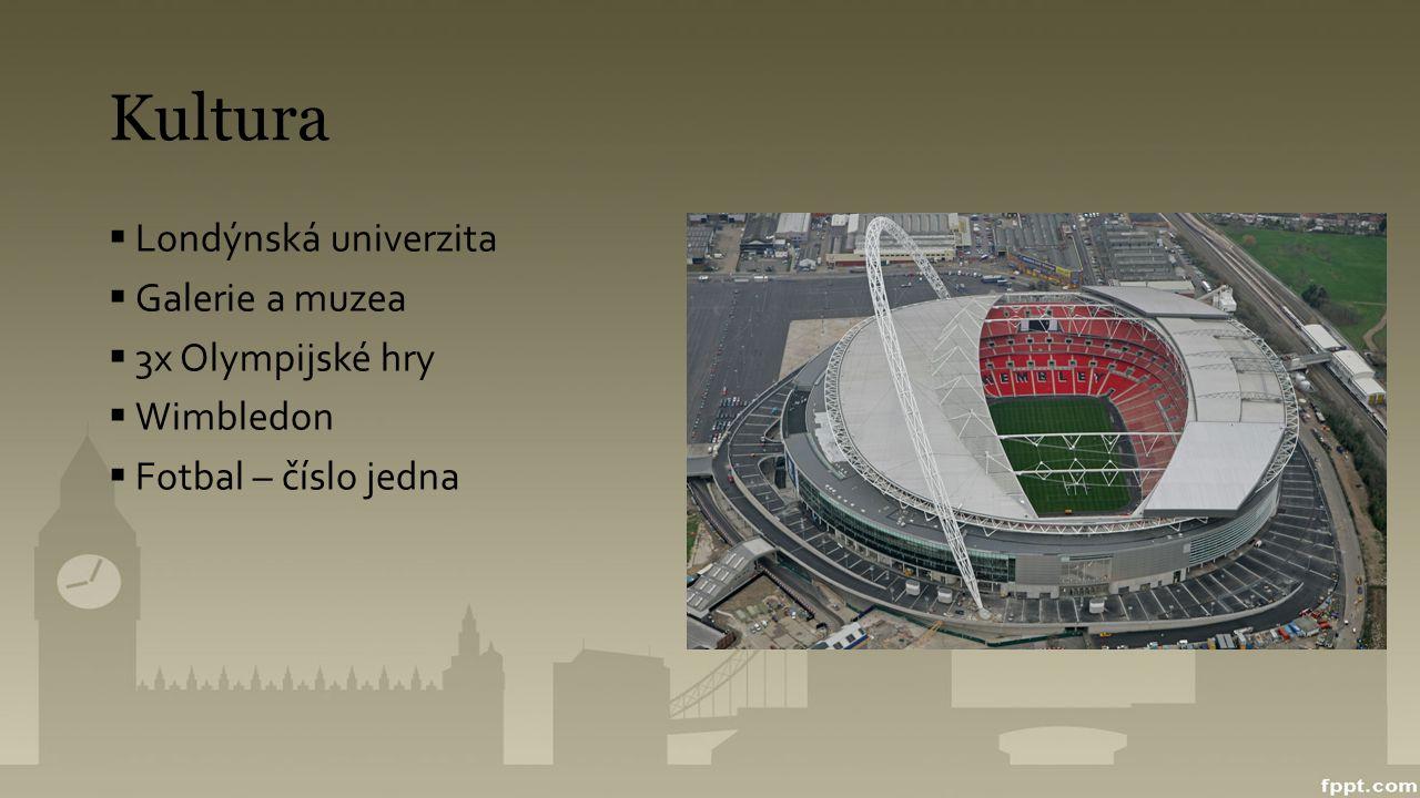 Kultura  Londýnská univerzita  Galerie a muzea  3x Olympijské hry  Wimbledon  Fotbal – číslo jedna
