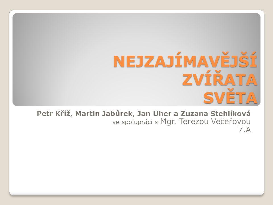 NEJZAJÍMAVĚJŠÍ ZVÍŘATA SVĚTA Petr Kříž, Martin Jabůrek, Jan Uher a Zuzana Stehlíková ve spolupráci s Mgr. Terezou Večeřovou 7.A