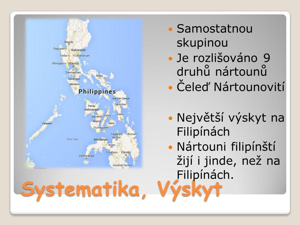 Systematika, Výskyt Samostatnou skupinou Je rozlišováno 9 druhů nártounů Čeleď Nártounovití Největší výskyt na Filipínách Nártouni filipínští žijí i j