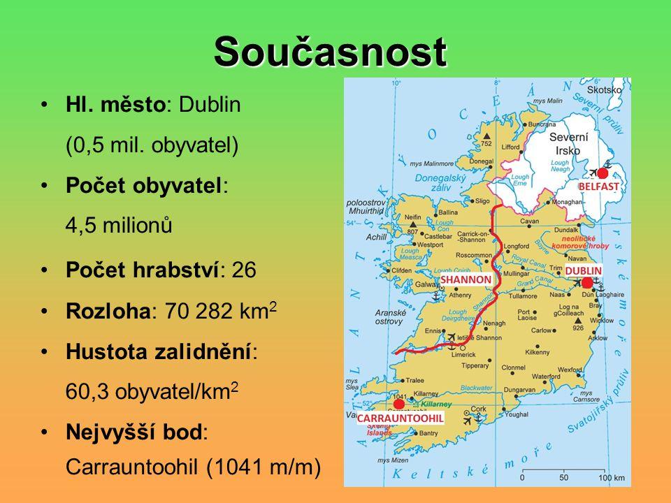 Současnost Hl. město: Dublin (0,5 mil. obyvatel) Počet obyvatel: 4,5 milionů Počet hrabství: 26 Rozloha: 70 282 km 2 Hustota zalidnění: 60,3 obyvatel/