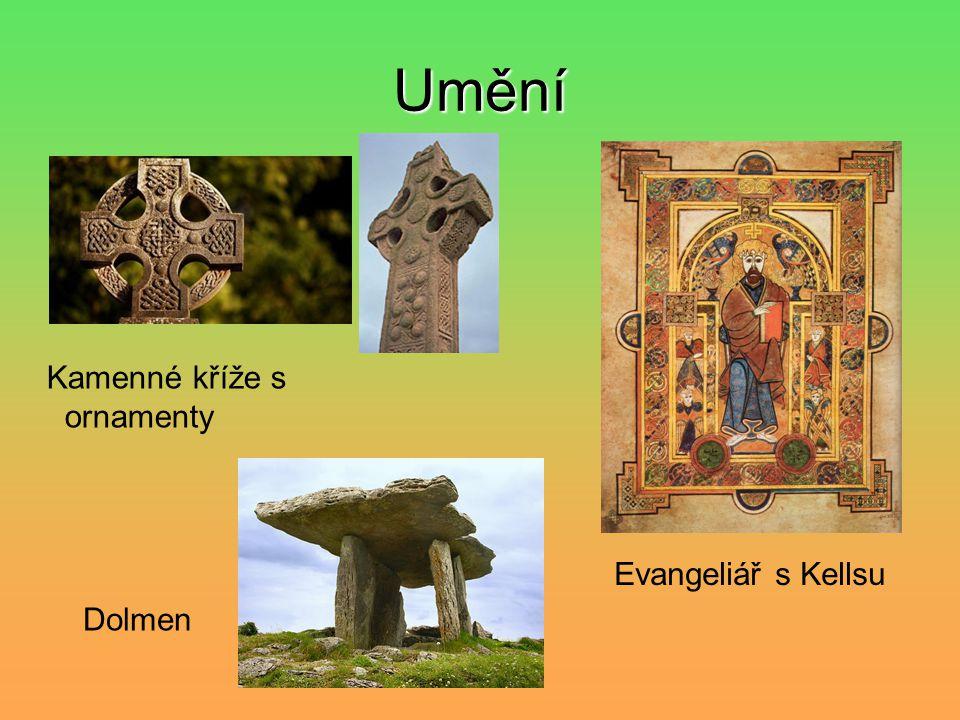 Umění Kamenné kříže s ornamenty Dolmen Evangeliář s Kellsu