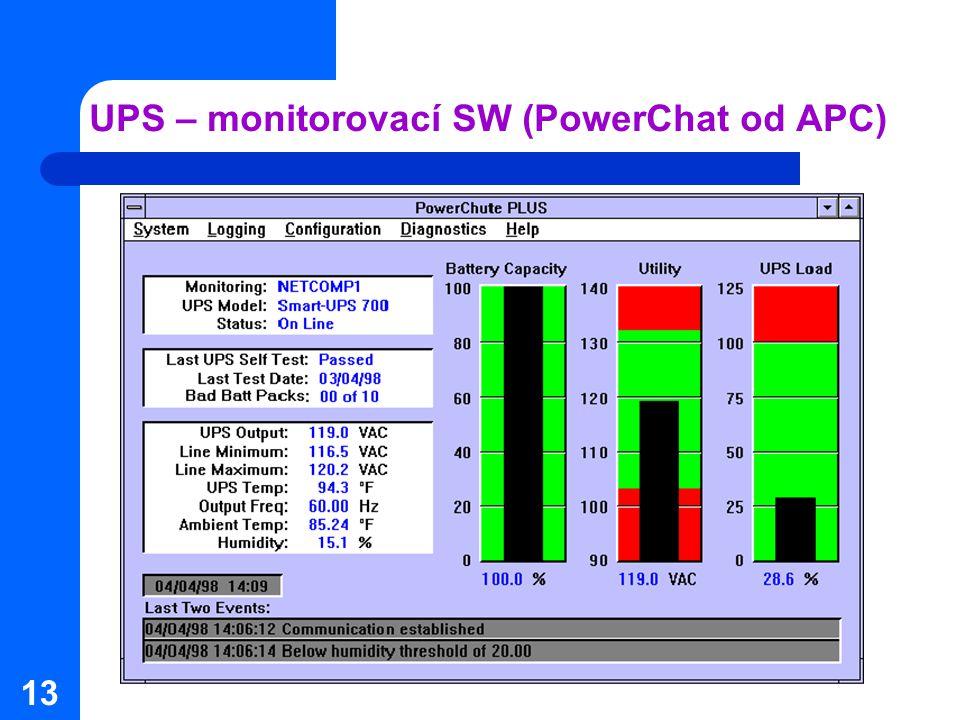 13 UPS – monitorovací SW (PowerChat od APC)