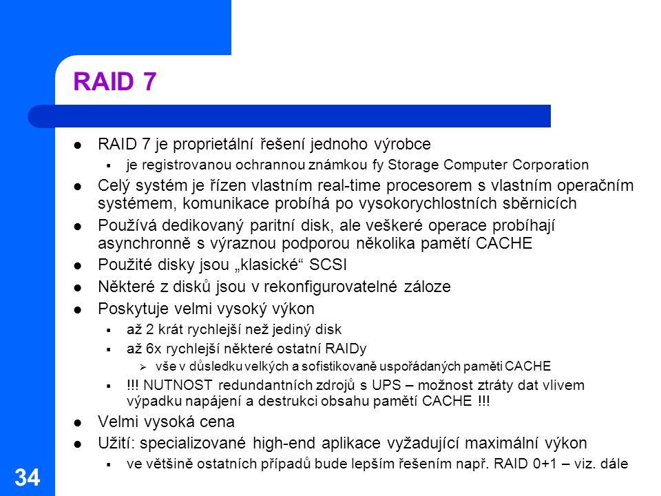 34 RAID 7 RAID 7 je proprietální řešení jednoho výrobce  je registrovanou ochrannou známkou fy Storage Computer Corporation Celý systém je řízen vlas