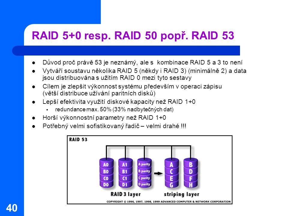 40 RAID 5+0 resp. RAID 50 popř. RAID 53 Důvod proč právě 53 je neznámý, ale s kombinace RAID 5 a 3 to není Vytváří soustavu několika RAID 5 (někdy i R