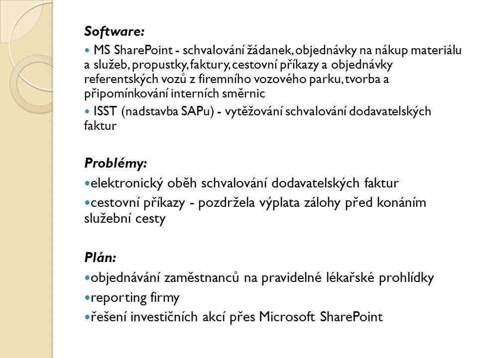 Software: MS SharePoint - schvalování žádanek, objednávky na nákup materiálu a služeb, propustky, faktury, cestovní příkazy a objednávky referentských