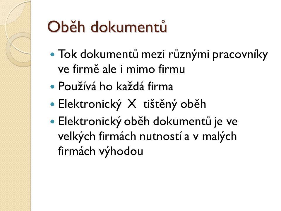 Oběh dokumentů Tok dokumentů mezi různými pracovníky ve firmě ale i mimo firmu Používá ho každá firma Elektronický X tištěný oběh Elektronický oběh do