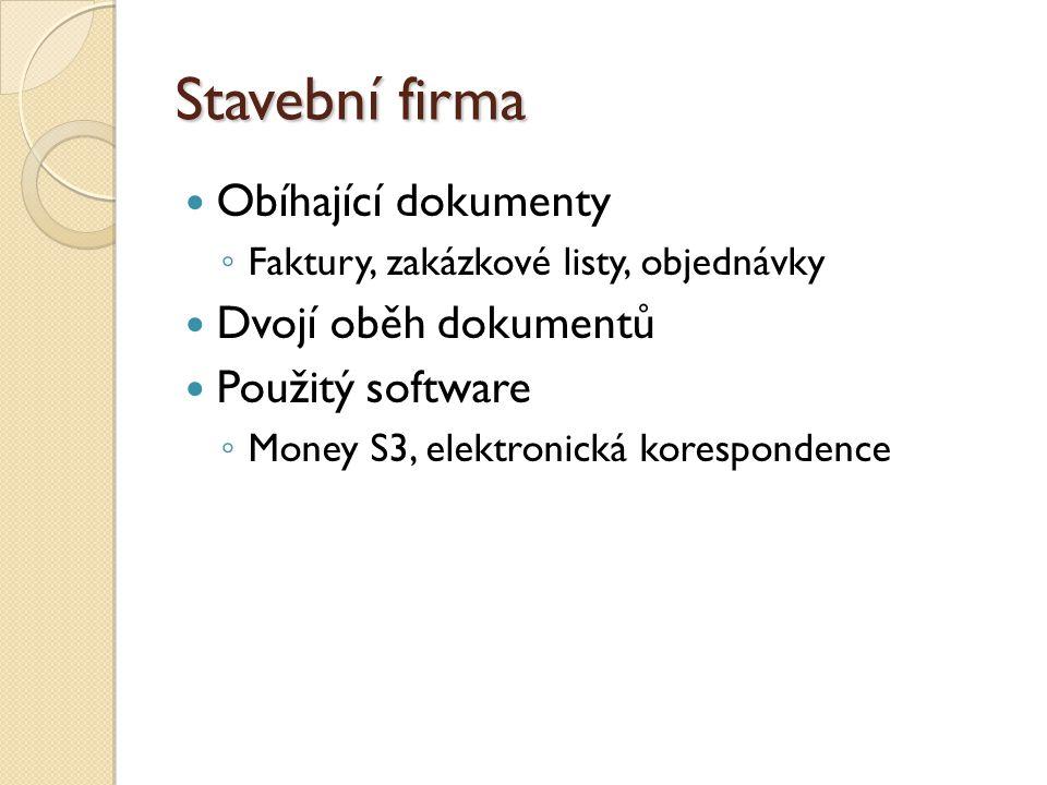Stavební firma Obíhající dokumenty ◦ Faktury, zakázkové listy, objednávky Dvojí oběh dokumentů Použitý software ◦ Money S3, elektronická korespondence