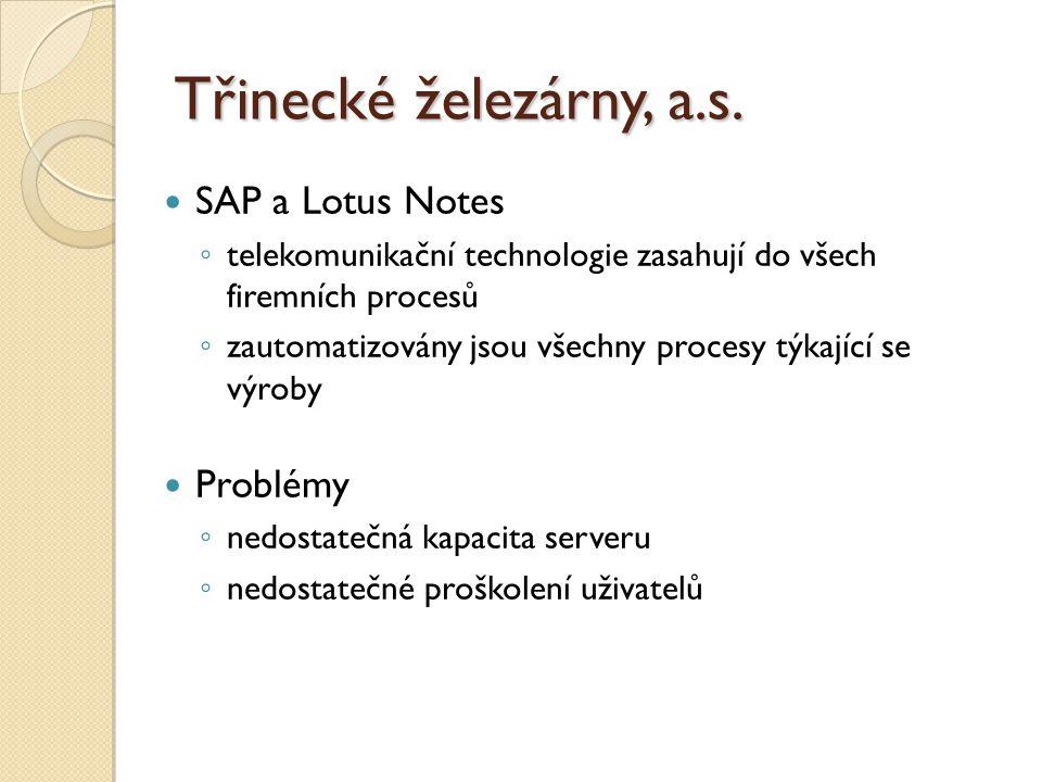 SAP a Lotus Notes ◦ telekomunikační technologie zasahují do všech firemních procesů ◦ zautomatizovány jsou všechny procesy týkající se výroby Problémy