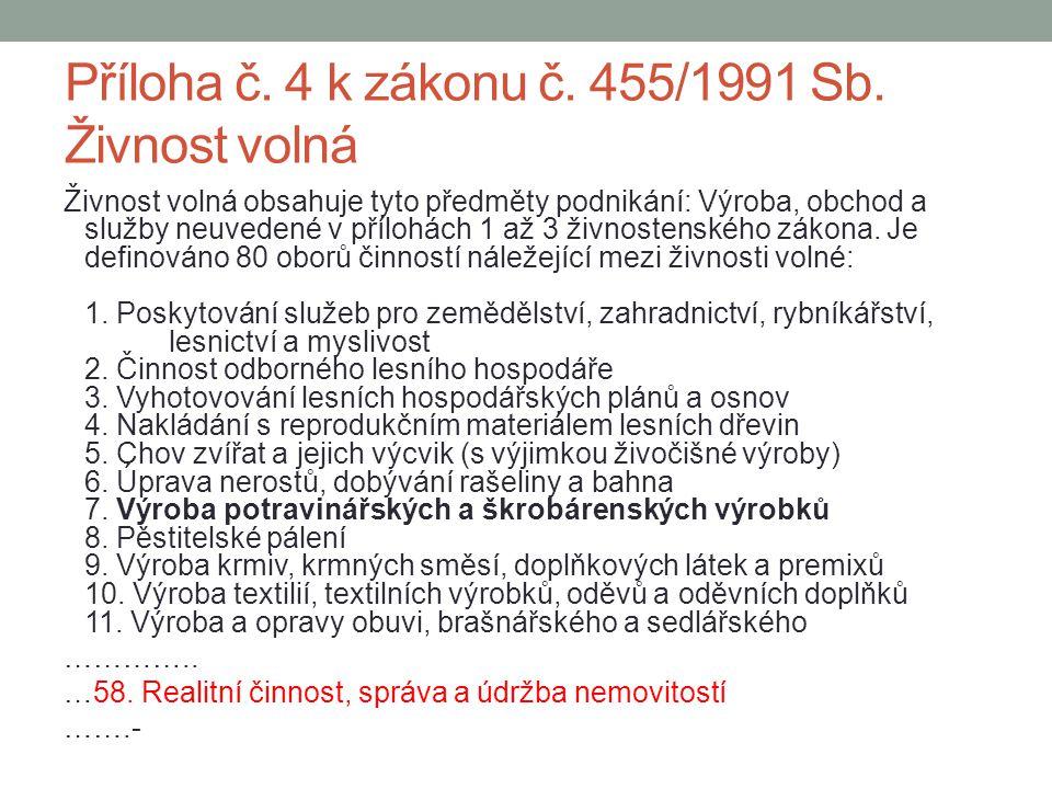 Příloha č. 4 k zákonu č. 455/1991 Sb.