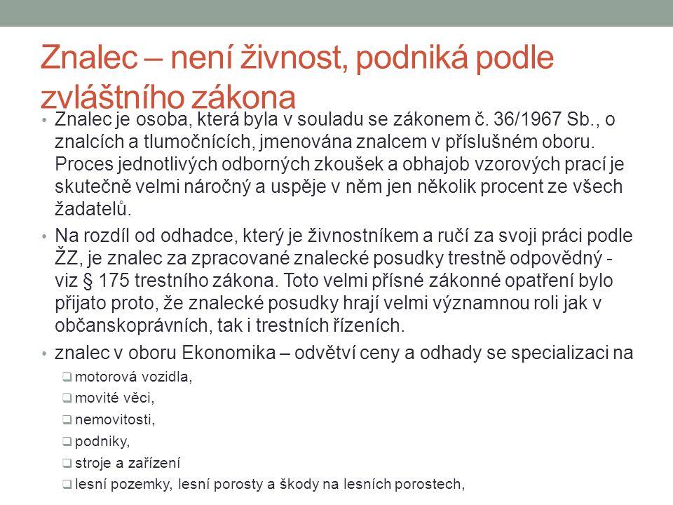 Znalec – není živnost, podniká podle zvláštního zákona Znalec je osoba, která byla v souladu se zákonem č.