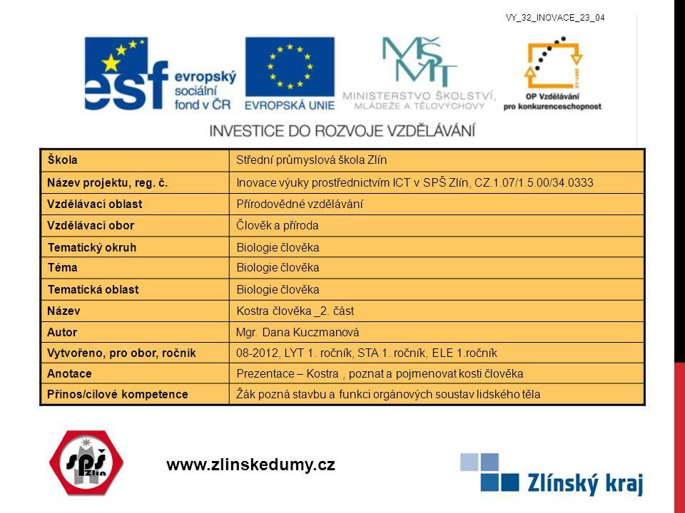 www.zlinskedumy.cz ŠkolaStřední průmyslová škola Zlín Název projektu, reg. č.Inovace výuky prostřednictvím ICT v SPŠ Zlín, CZ.1.07/1.5.00/34.0333 Vzdě