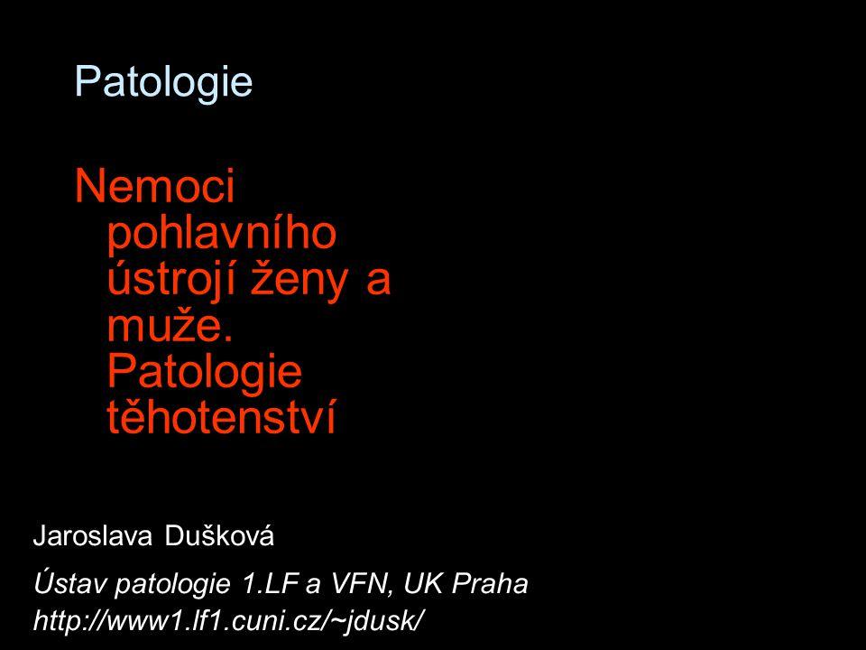 Patologie Nemoci pohlavního ústrojí ženy a muže. Patologie těhotenství Jaroslava Dušková Ústav patologie 1.LF a VFN, UK Praha http://www1.lf1.cuni.cz/