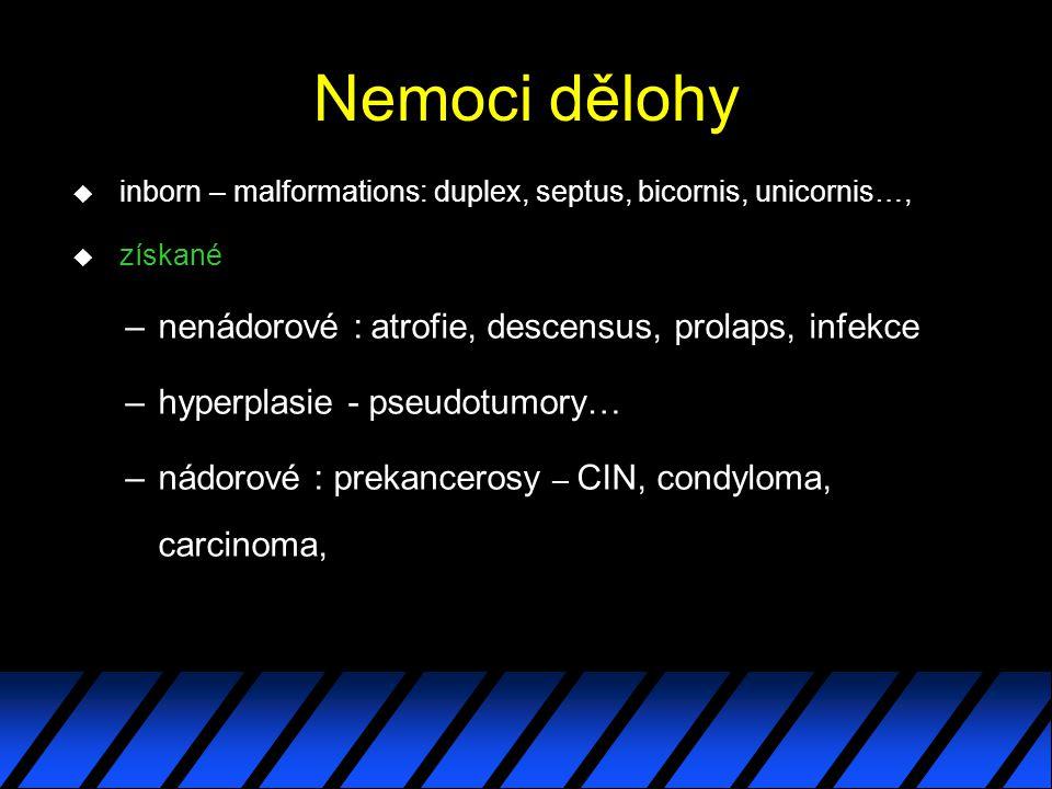 Nemoci dělohy u inborn – malformations: duplex, septus, bicornis, unicornis…, u získané –nenádorové : atrofie, descensus, prolaps, infekce –hyperplasi
