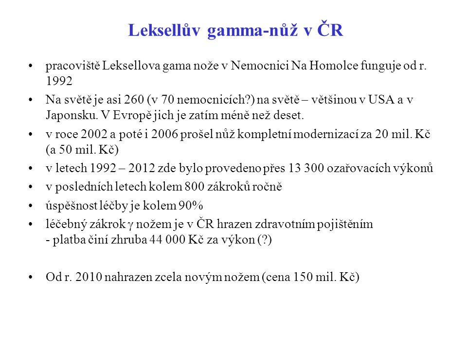 Leksellův gamma-nůž v ČR pracoviště Leksellova gama nože v Nemocnici Na Homolce funguje od r. 1992 Na světě je asi 260 (v 70 nemocnicích?) na světě –