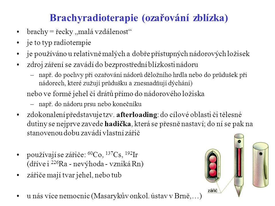 """Brachyradioterapie (ozařování zblízka) brachy = řecky """"malá vzdálenost"""" je to typ radioterapie je používáno u relativně malých a dobře přístupných nád"""