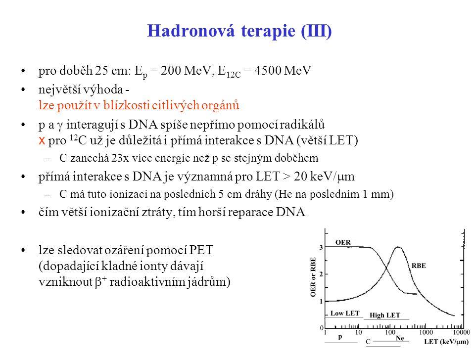Hadronová terapie (III) pro doběh 25 cm: E p = 200 MeV, E 12C = 4500 MeV největší výhoda - lze použít v blízkosti citlivých orgánů p a  interagují s
