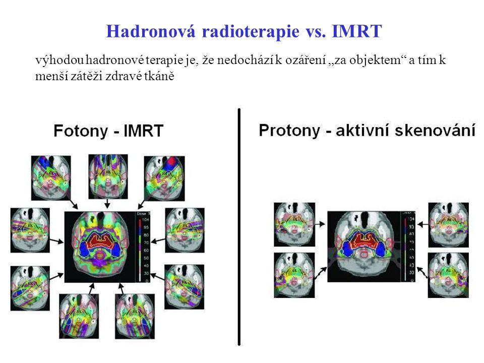 """Hadronová radioterapie vs. IMRT výhodou hadronové terapie je, že nedochází k ozáření """"za objektem"""" a tím k menší zátěži zdravé tkáně"""