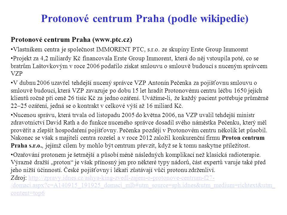 Protonové centrum Praha (www.ptc.cz) Vlastníkem centra je společnost IMMORENT PTC, s.r.o. ze skupiny Erste Group Immorent Projekt za 4,2 miliardy Kč f