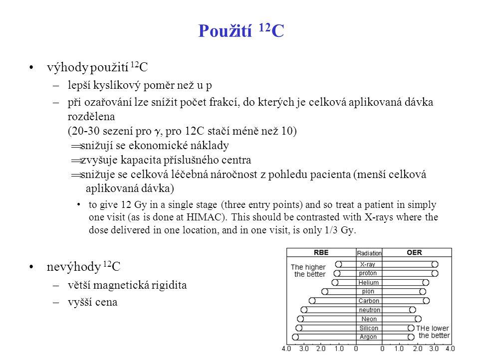 Použití 12 C výhody použití 12 C –lepší kyslíkový poměr než u p –při ozařování lze snížit počet frakcí, do kterých je celková aplikovaná dávka rozděle