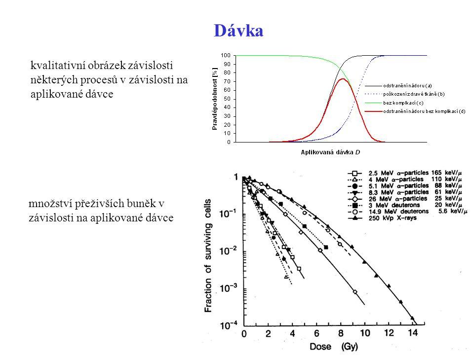 Dávka kvalitativní obrázek závislosti některých procesů v závislosti na aplikované dávce množství přeživších buněk v závislosti na aplikované dávce