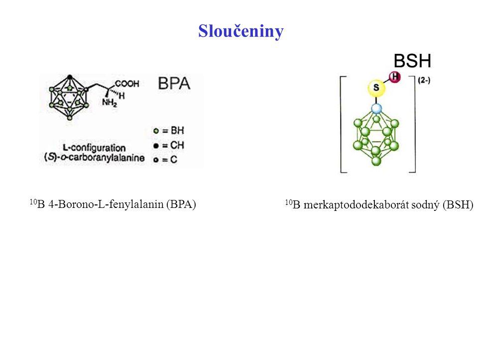 Sloučeniny 10 B 4-Borono-L-fenylalanin (BPA) 10 B merkaptododekaborát sodný (BSH)