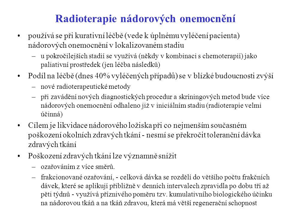 Radioterapie nádorových onemocnění používá se při kurativní léčbě (vede k úplnému vyléčení pacienta) nádorových onemocnění v lokalizovaném stadiu –u p