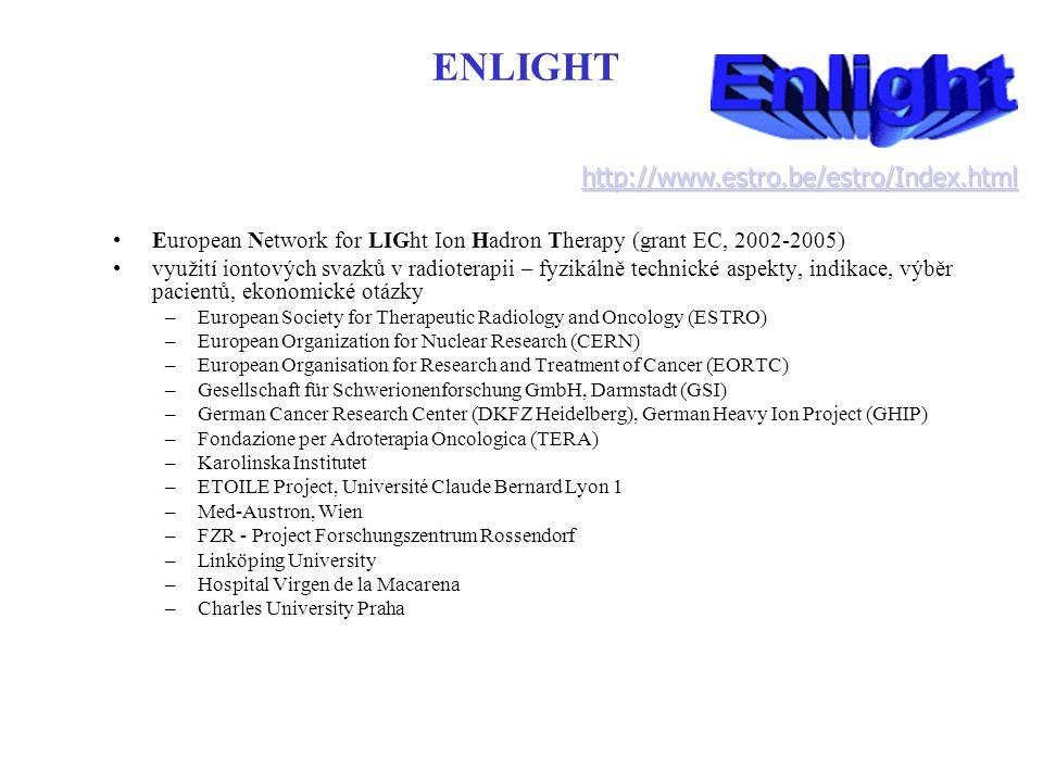 ENLIGHT European Network for LIGht Ion Hadron Therapy (grant EC, 2002-2005) využití iontových svazků v radioterapii – fyzikálně technické aspekty, ind