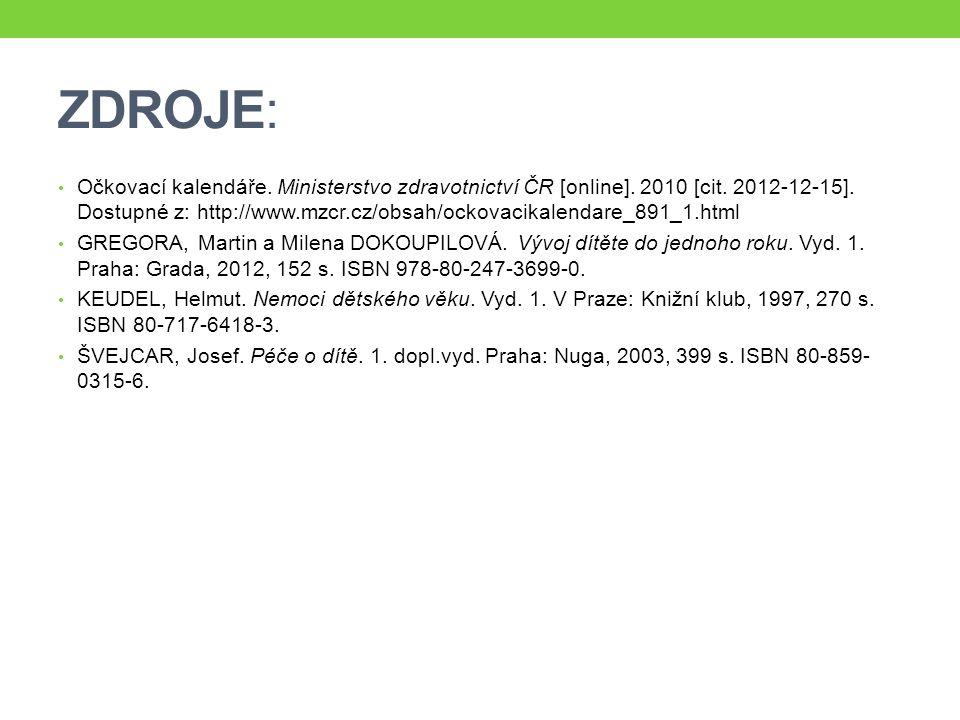 ZDROJE: Očkovací kalendáře. Ministerstvo zdravotnictví ČR [online]. 2010 [cit. 2012-12-15]. Dostupné z: http://www.mzcr.cz/obsah/ockovacikalendare_891