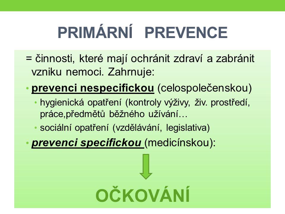 PRIMÁRNÍ PREVENCE = činnosti, které mají ochránit zdraví a zabránit vzniku nemoci. Zahrnuje: prevenci nespecifickou (celospolečenskou) hygienická opat
