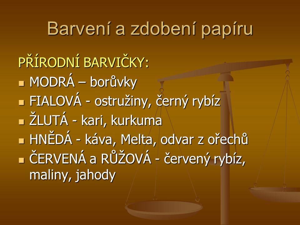 Barvení a zdobení papíru PŘÍRODNÍ BARVIČKY: MODRÁ – borůvky MODRÁ – borůvky FIALOVÁ - ostružiny, černý rybíz FIALOVÁ - ostružiny, černý rybíz ŽLUTÁ -