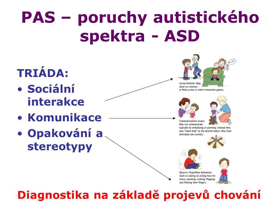PAS – poruchy autistického spektra - ASD TRIÁDA: Sociální interakce Komunikace Opakování a stereotypy Diagnostika na základě projevů chování