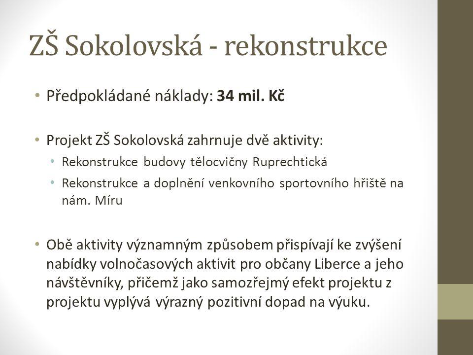ZŠ Sokolovská - rekonstrukce Předpokládané náklady: 34 mil. Kč Projekt ZŠ Sokolovská zahrnuje dvě aktivity: Rekonstrukce budovy tělocvičny Ruprechtick