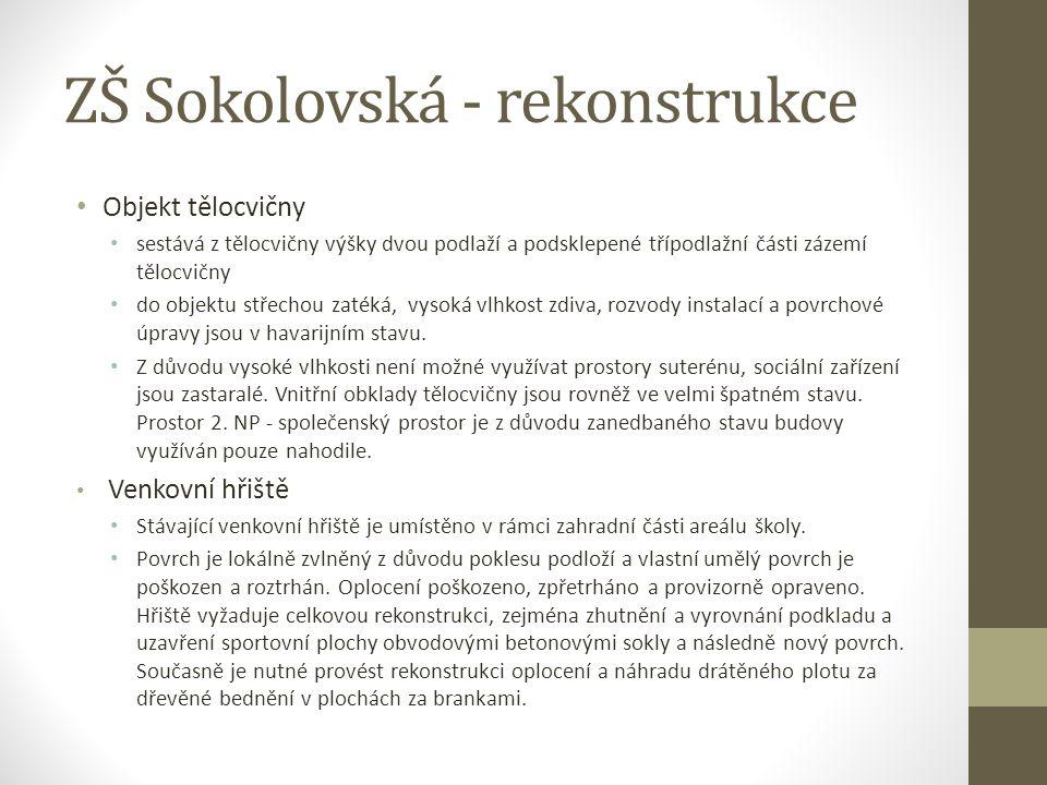 ZŠ Sokolovská - rekonstrukce Objekt tělocvičny sestává z tělocvičny výšky dvou podlaží a podsklepené třípodlažní části zázemí tělocvičny do objektu st