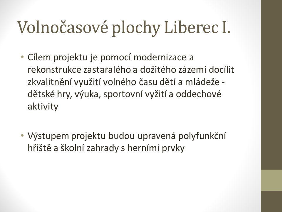 Volnočasové plochy Liberec I. Cílem projektu je pomocí modernizace a rekonstrukce zastaralého a dožitého zázemí docílit zkvalitnění využití volného ča