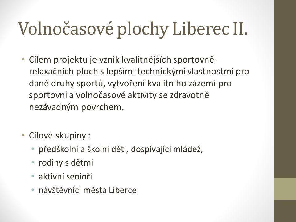 Volnočasové plochy Liberec II. Cílem projektu je vznik kvalitnějších sportovně- relaxačních ploch s lepšími technickými vlastnostmi pro dané druhy spo